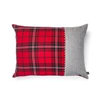 Red Checkered and Grey Tweed Herringbone Cushion