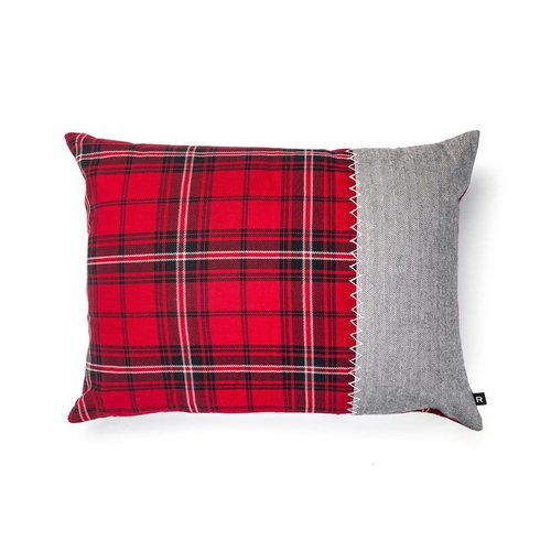 Red Checkered and Tweed Herringbone Cushion