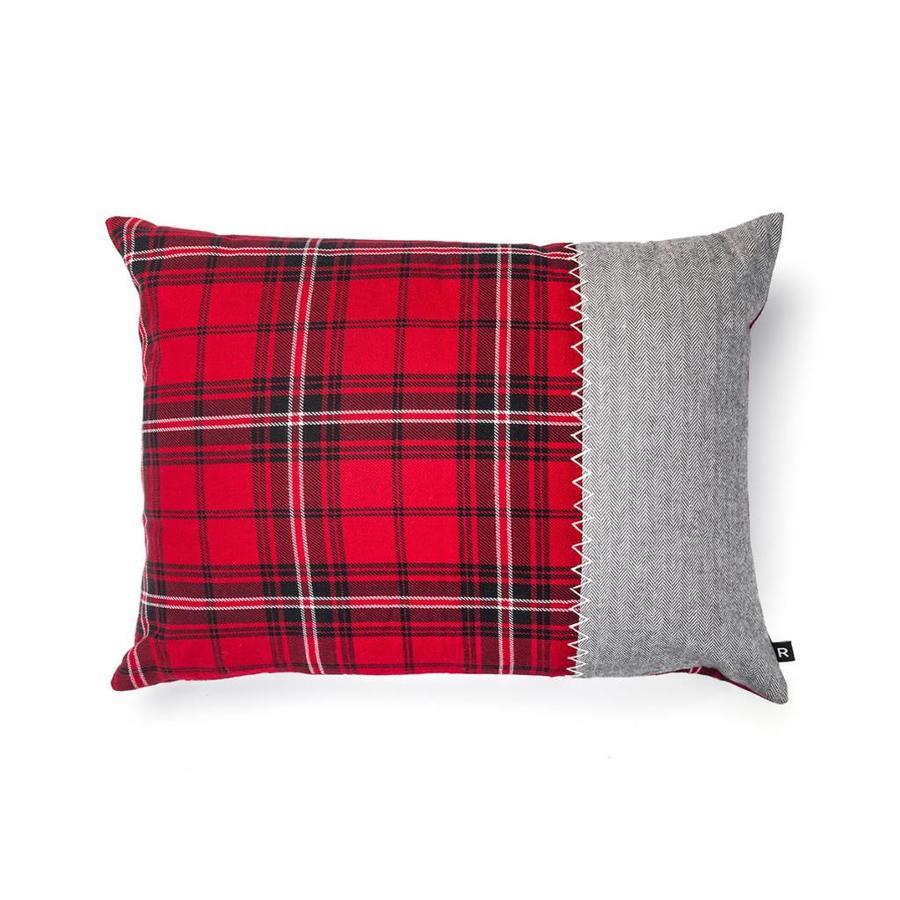 Coussin rouge à carreaux et tweed à chevrons gris - Photo 0