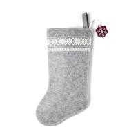 Grey Christmas Stocking with White Snowflakes