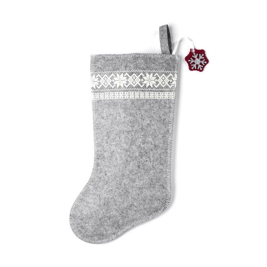 Grey Christmas Stocking with White Snowflakes - Photo 0