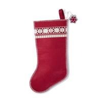 Bas de Noël rouge à flocons blancs