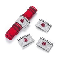 Grey Felt Napkin Rings with Red Snowflake