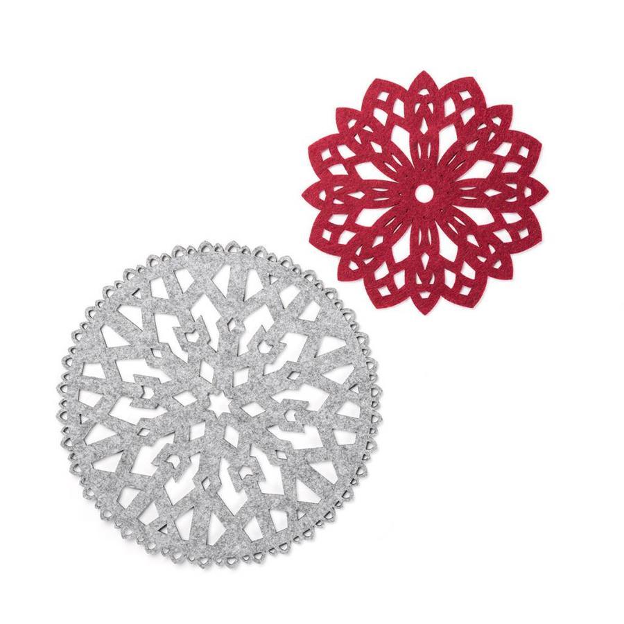 Sous-plats flocons en feutre rouge et gris - Photo 0