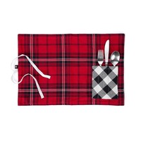 Red Checkered Lunch Placemat with Utensil Pocket