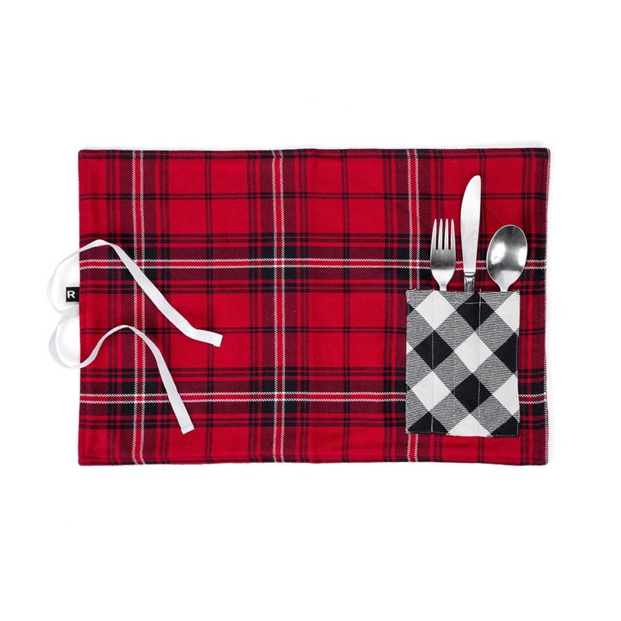 Red Checkered Lunch Placemat with Utensil Pocket - Photo 0