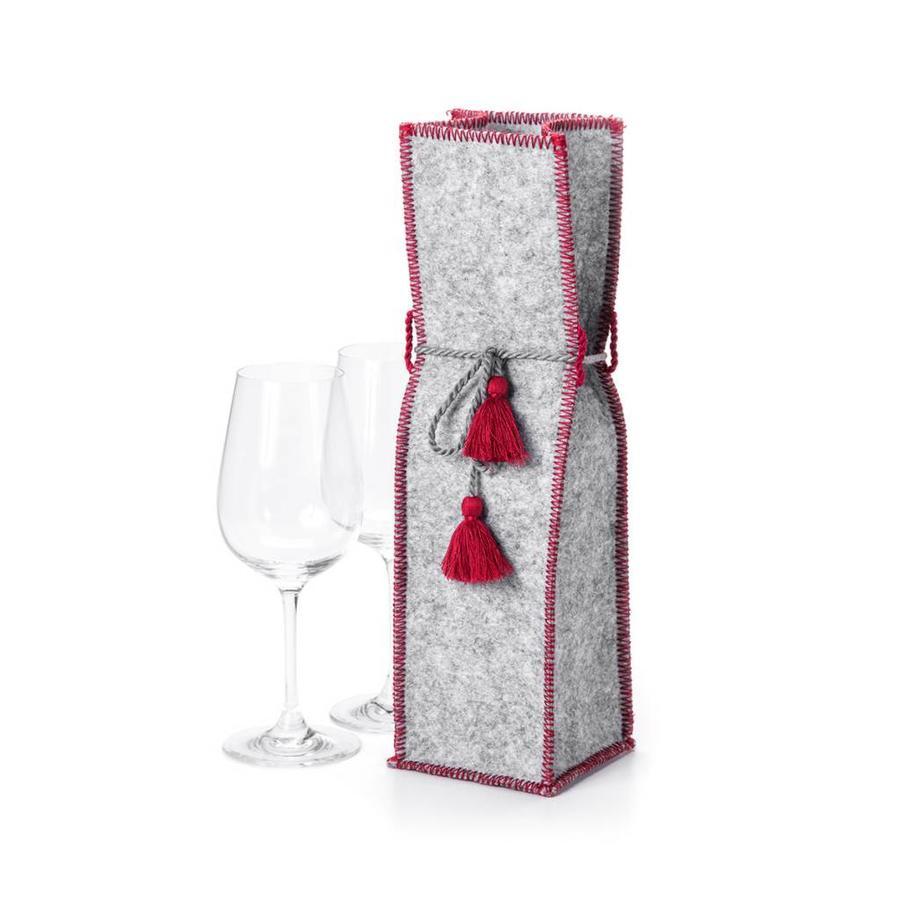 Sac à vin en feutre gris - Photo 0