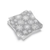 Serviettes en papier grises à flocons blancs