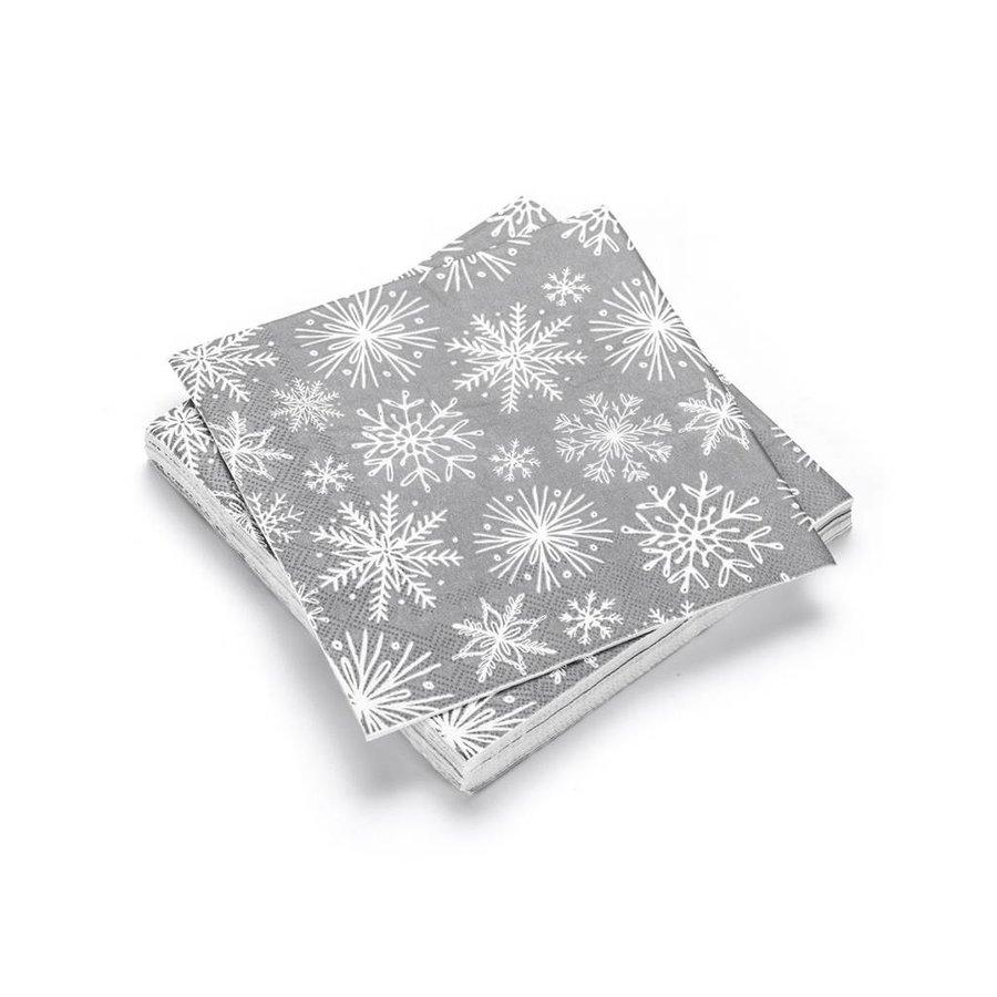 Serviettes en papier grises à flocons blancs - Photo 0