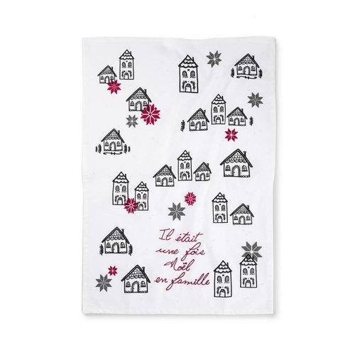 """""""Il était une fois Noël en famille"""" Tea Towel"""