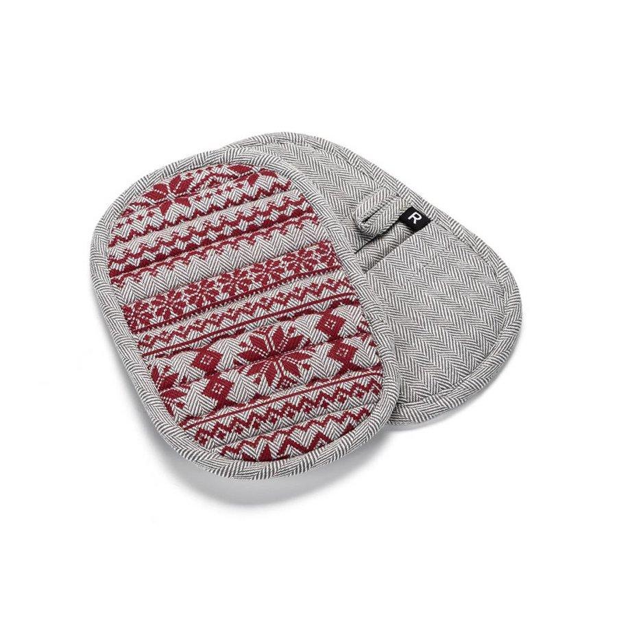Sous-plats en tweed à chevrons avec imprimés rouges - Photo 0