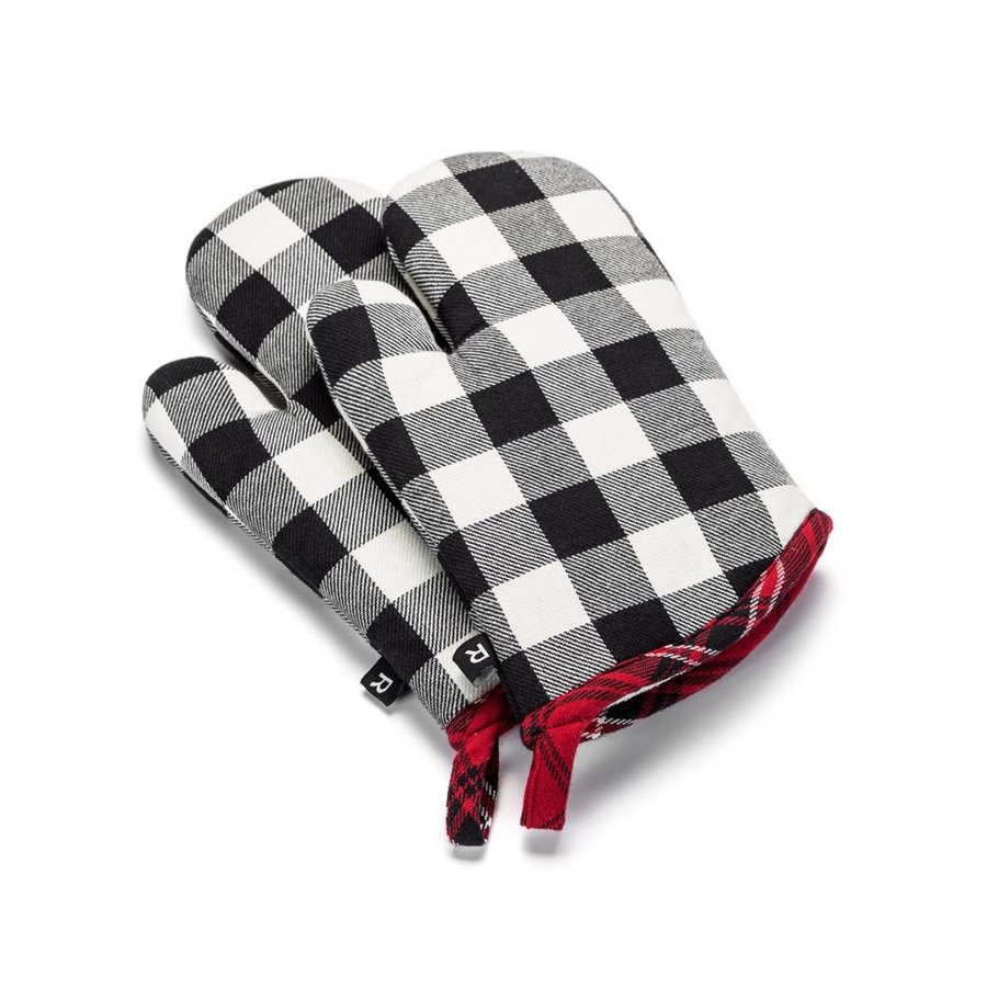 Black and White Checkered Oven Mitts - Photo 0