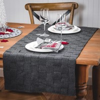 Woven Table Runner in Grey Felt