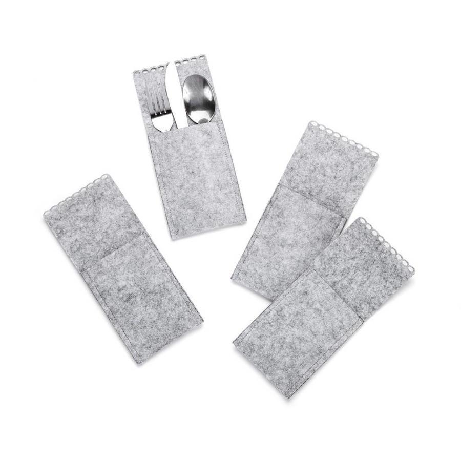 Pochettes à ustensiles en feutre gris - Photo 0