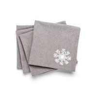 Grey Napkins with White Snowflake