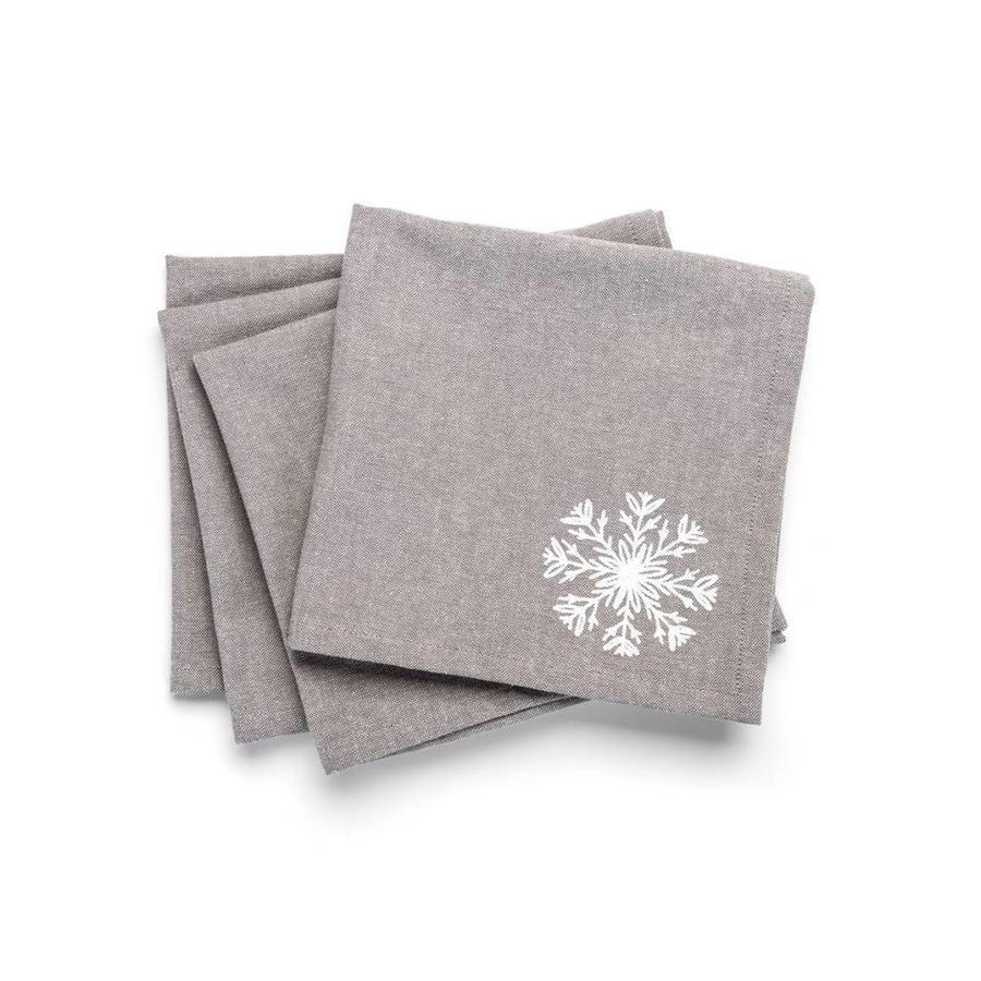 Grey Napkins with White Snowflake - Photo 0
