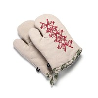 Nordic Forest Oven Mitts with Red Embroidery