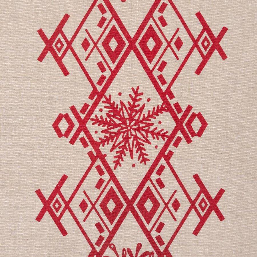 Chemin de table forêt nordique avec broderies rouges - Photo 1