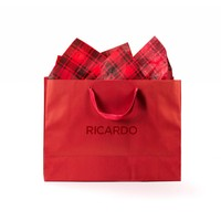 RICARDO Gift Bag and Red Checkered Tissue Paper