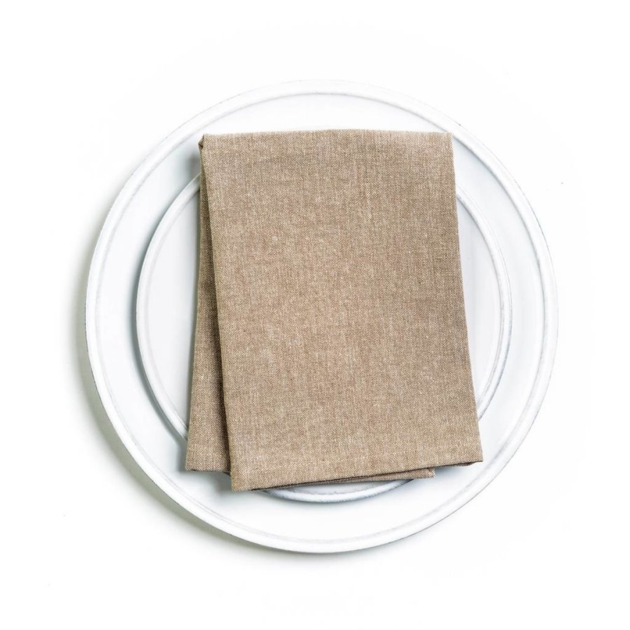 Serviette de table chambray beige - Photo 1