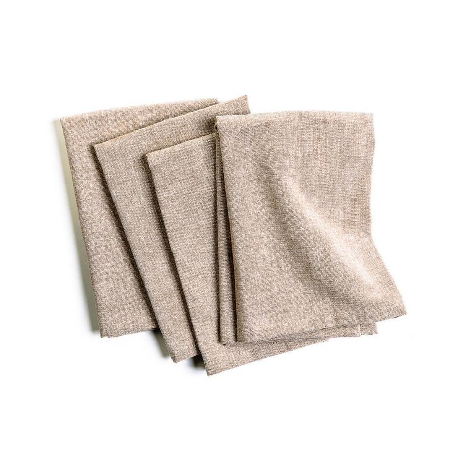 Serviette de table chambray beige - Photo 0