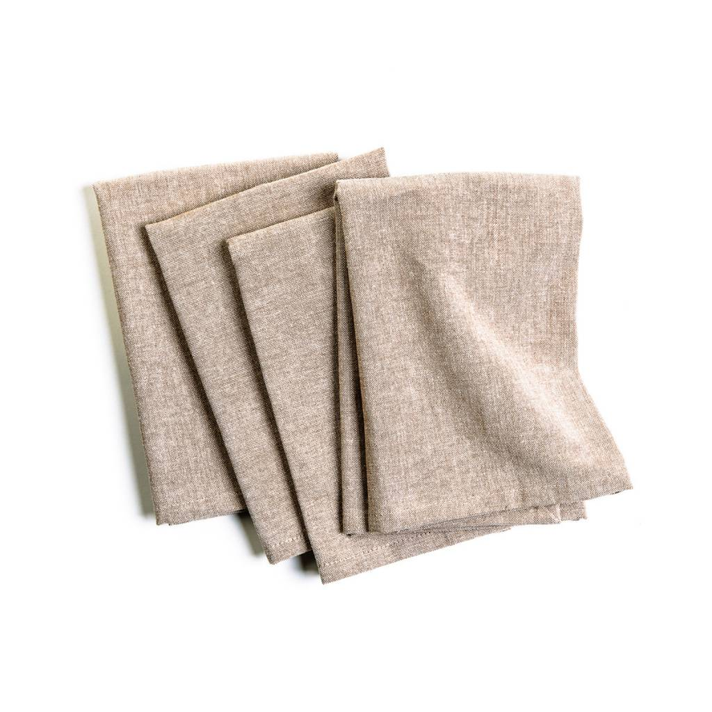 Serviette de table chambray beige boutique ricardo - Ensemble nappe et serviette de table ...
