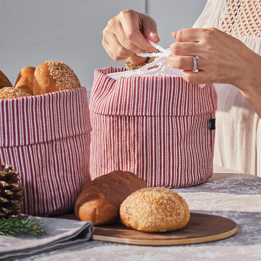 Red and White Striped Bag for Warm Bread - Photo 3