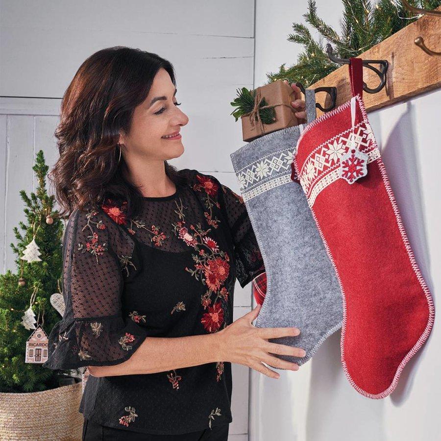 Grey Christmas Stocking with White Snowflakes - Photo 1