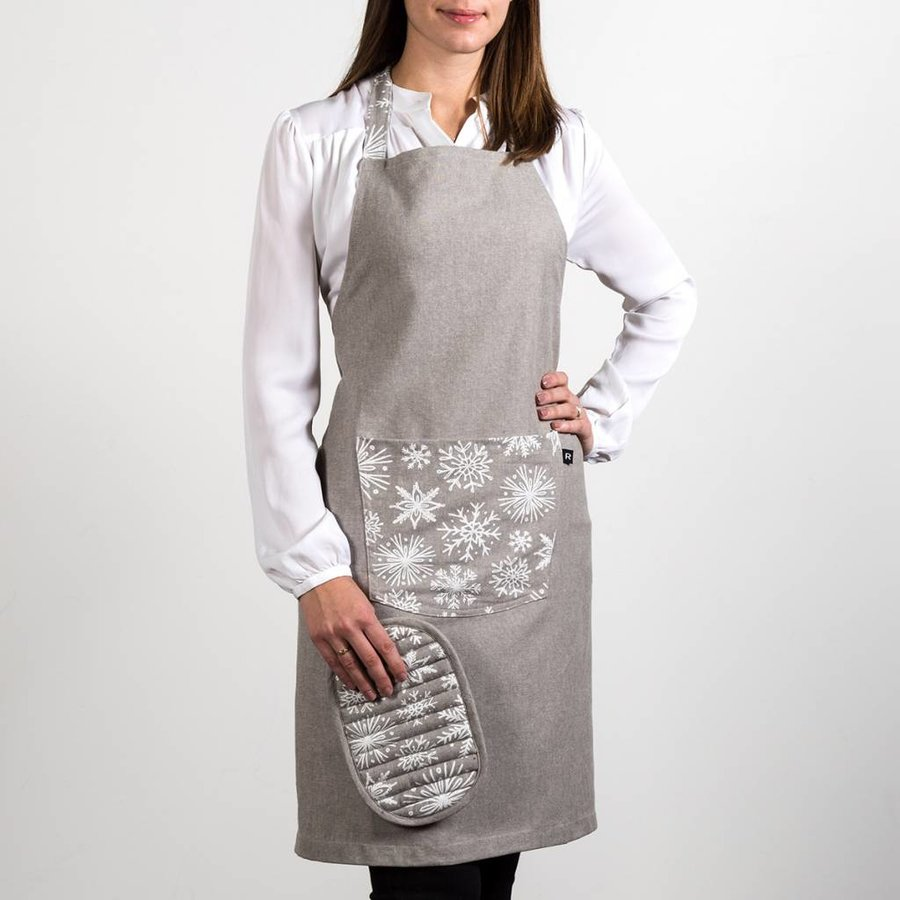 Apron and Pot Holder with White Snowflakes - Photo 0