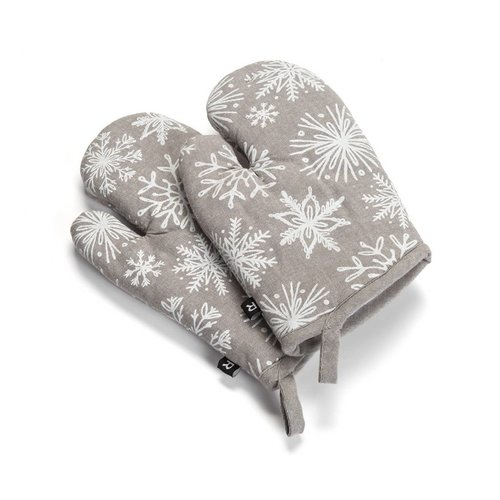 Oven Mitts with White Snowflakes