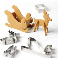 3D Holiday Cookie Cutters Set with Reindeer and Sleigh Shapes