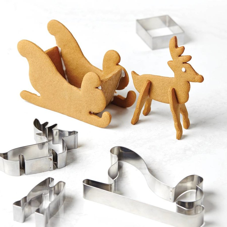 3D Holiday Cookie Cutters Set with Reindeer and Sleigh Shapes - Photo 2