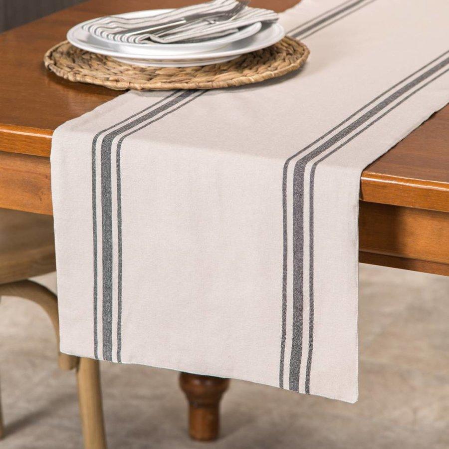Chemin de table chambray à rayures noires - Photo 0