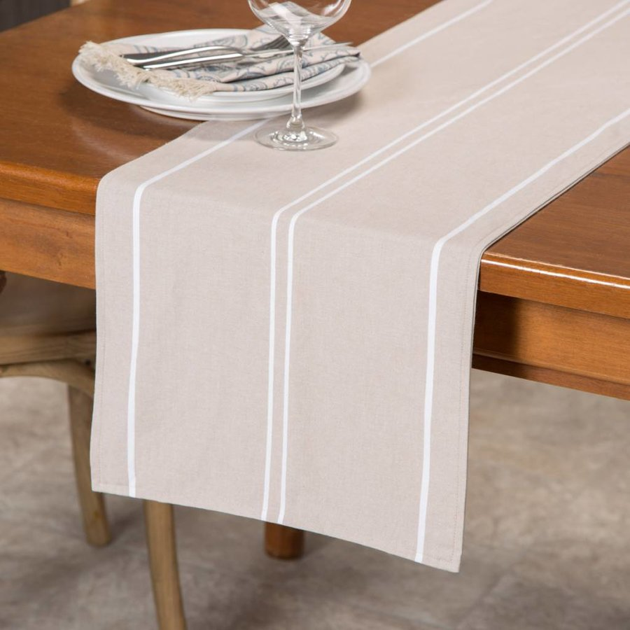 Beige Table Runner with White Stripes - Photo 0