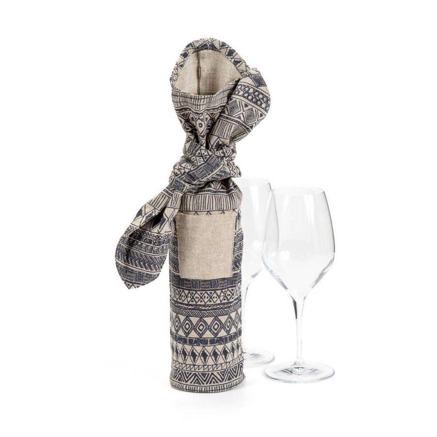Sac à vin beige à motifs aztèques - Photo 0