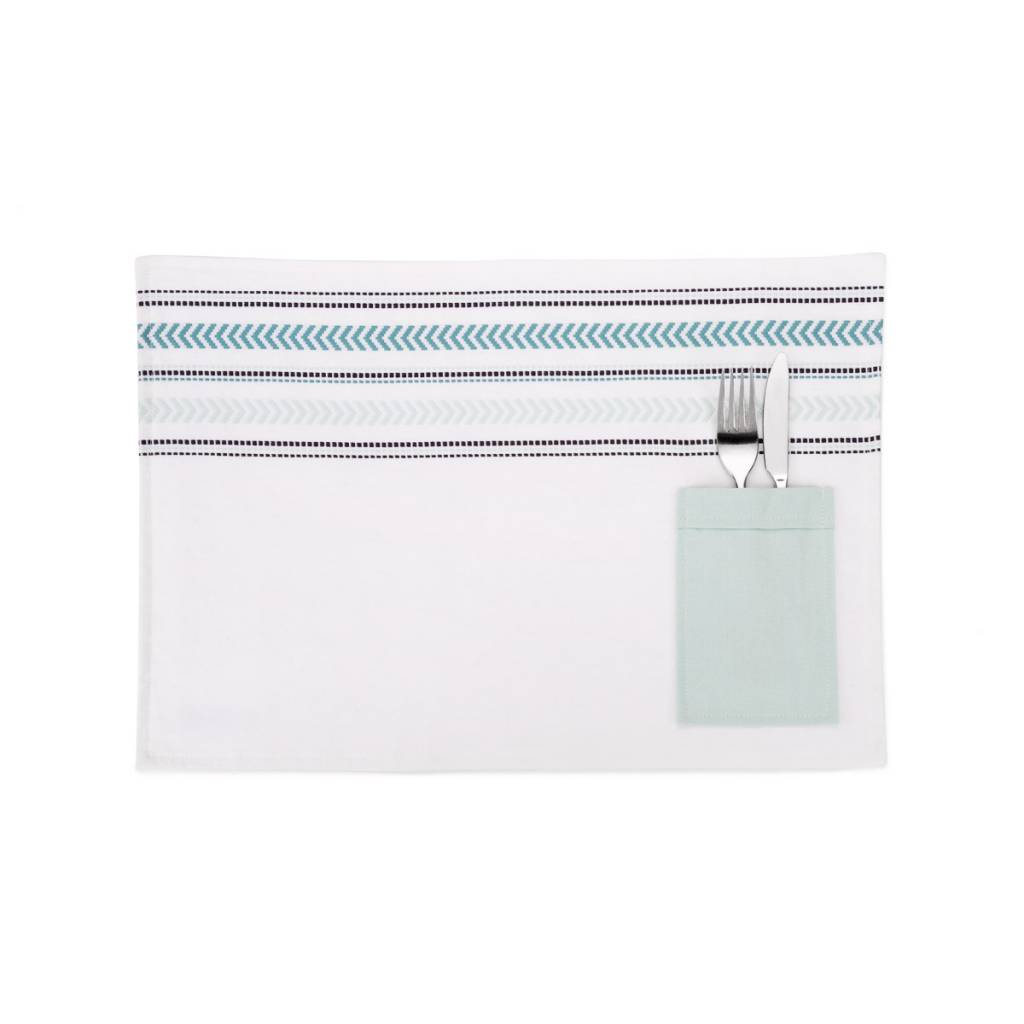 Placemats With Turquoise Stripes And Utensil Pocket