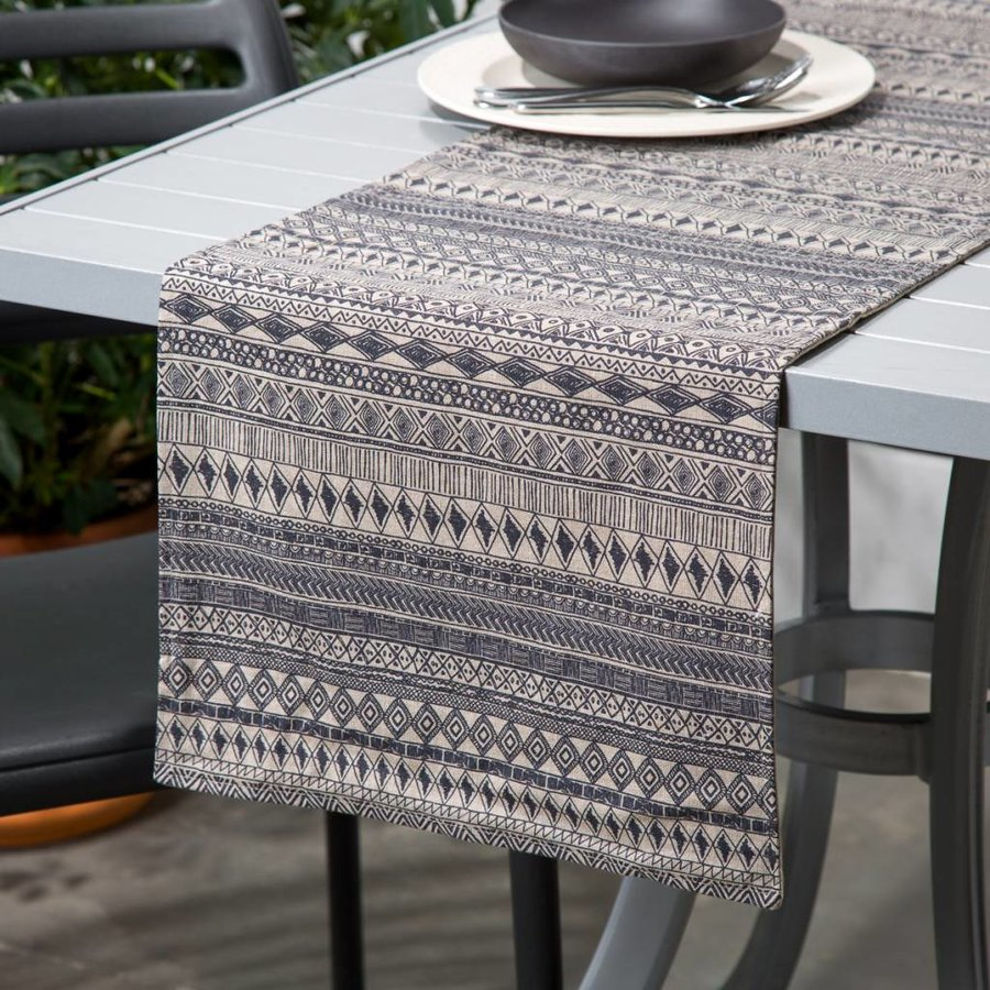 Beige Table Runner with Aztec Print - Photo 0
