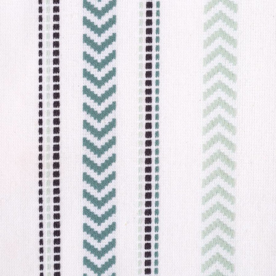 White Table Runner with Turquoise Embroidery - Photo 1