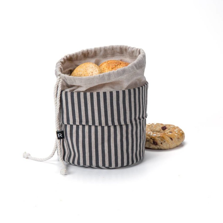 Sac à pain chaud rayé noir et chambray - Photo 0
