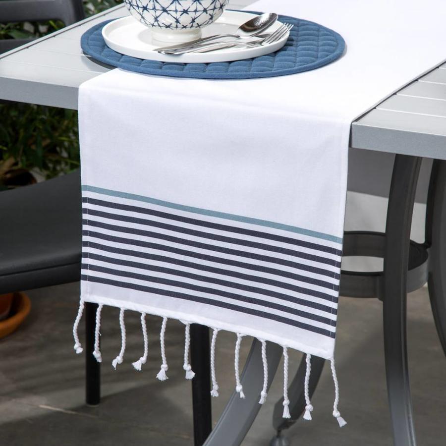 Chemin de table blanc à franges et à rayures - Photo 0