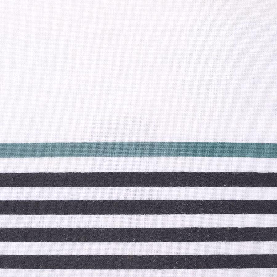White Table Runner with Tassels and Stripes - Photo 1