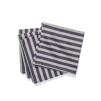Chambray Table Napkins with Black Stripes