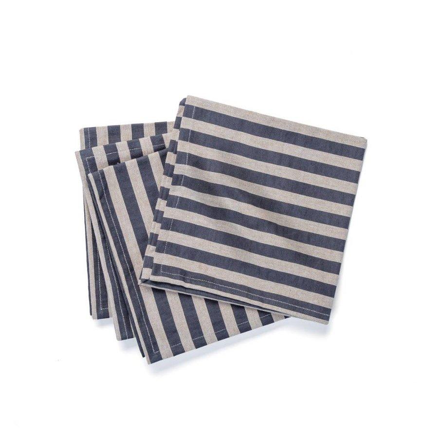 Serviette de table chambray à rayures noires - Photo 0