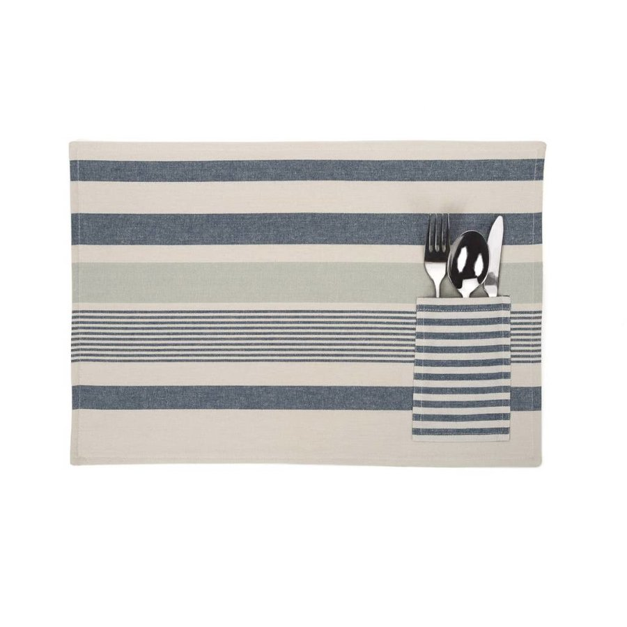 Blue Stripped Chambray Placemats with Utensil Pocket - Photo 0