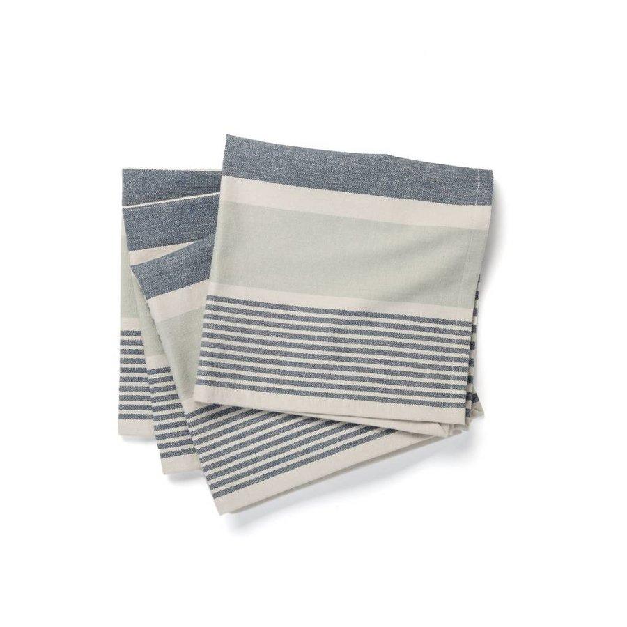 Serviettes de table chambray à larges rayures bleues - Photo 0