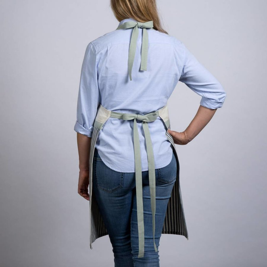 Ensemble de tablier, mitaine et sous-plat chambray à rayures bleues - Photo 1