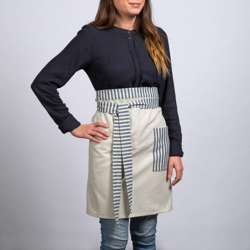 Demi tablier chambray rayures bleues boutique ricardo for Tablier de cuisine ricardo