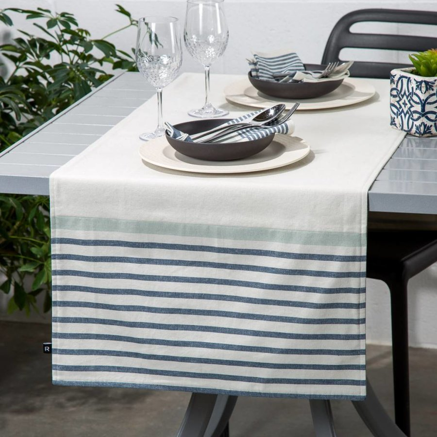 Blue Striped Chambray Table Runner - Photo 0
