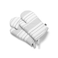 White Oven Mitts with Grey Stripes
