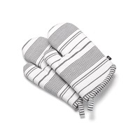 White Oven Mitts white Black Stripes